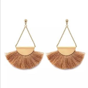 New khaki and gold fan fringe earrings